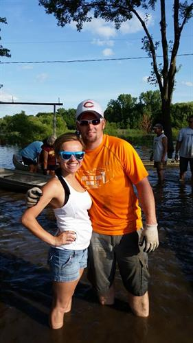 Chris & Anica helping sandbag in Prior Lake 2014