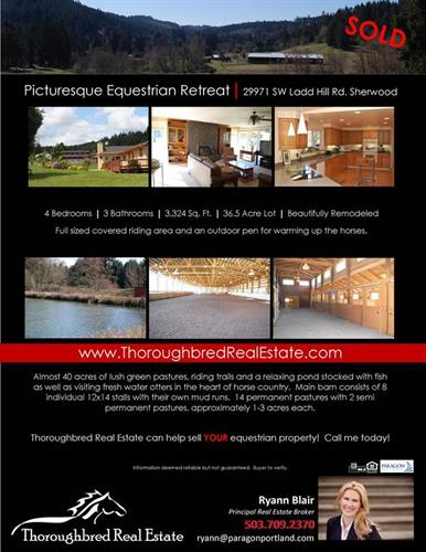SOLD Picturesque Equestrian Property with 40 acres in Sherwood