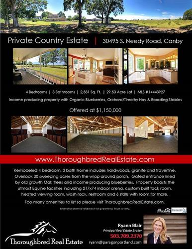 SOLD Private Equestrian Estate, State of the Art Amenities in Canby