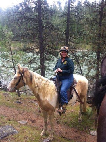 Debbie on a trail ride