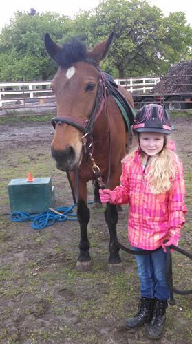 Sam and her lesson horse Choya