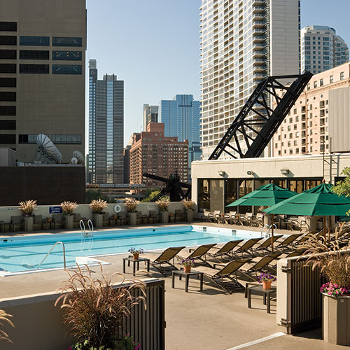 One of two outdoor pools at East Bank Club