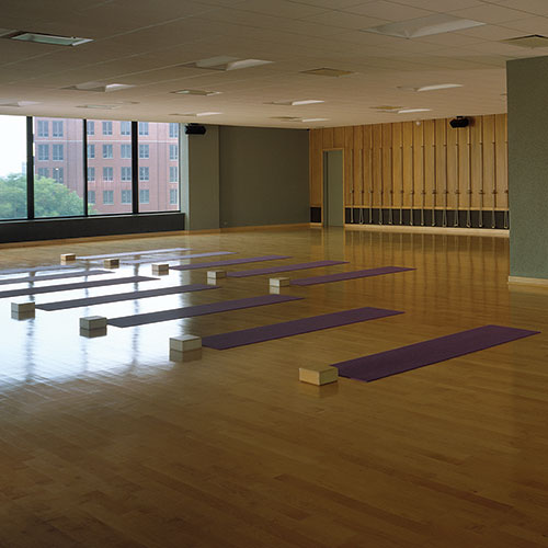 The yoga studio at East Bank Club