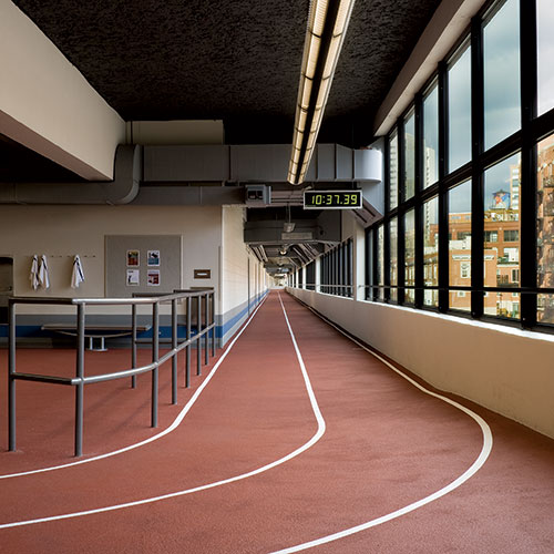 The 1/4-mile indoor track at East Bank Club