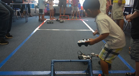 Playing soccer with NXT robots.