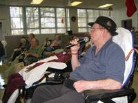John Hopkins used to DJ and still loves to sing.  Our musicians gave him that chance at Lake Taylor Hospital.