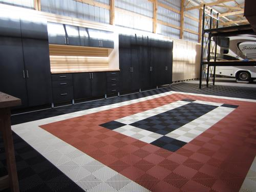 Garage Cabinets and Tile Flooring