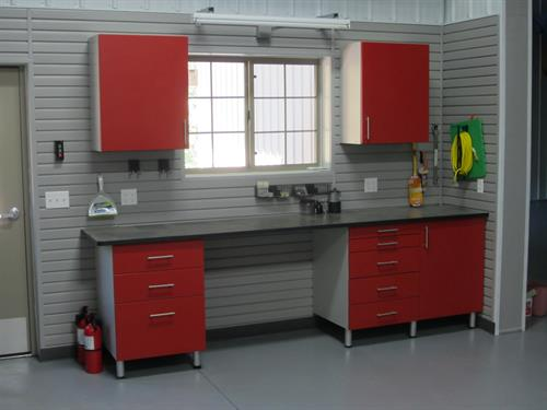 Garage Cabinets in Red Powder Coat