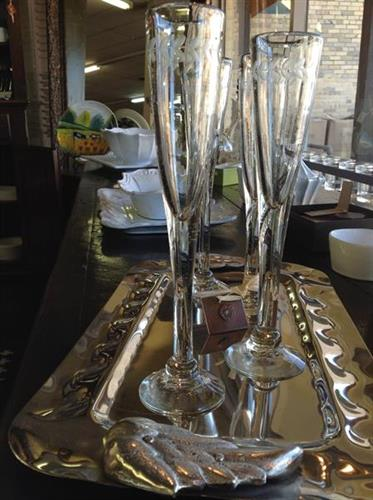 Champagne Flutes and Tray by Jan Barboglio