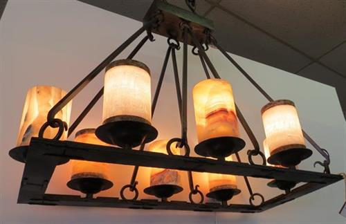 Iron Chandelier with Onyx Shades