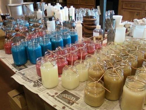 In production! Each candle is hand-poured.