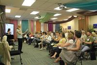 Sarah Smriga teaching energy healing at Healers Academy in Toronto