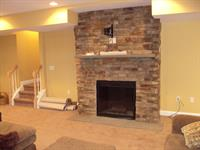 stone fireplace in finished basement in Mullica Hill, NJ