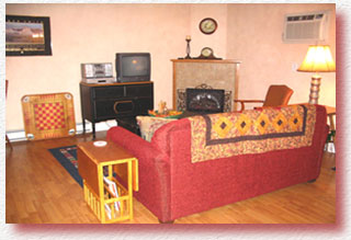 The living area features a sleeper sofa, fireplace, and office space. Free wireless internet is available.