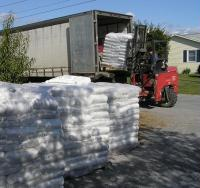 Bagged Vermont Wood Pellets come in one-ton pallets of 50 40-lb bags.