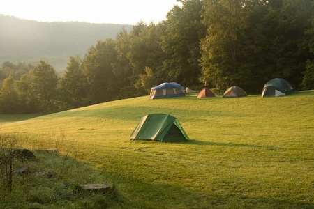 Tenting in the meadow is an option.
