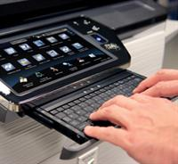 Sharp's MFPs feature a retractable keyboard