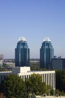 Sandy Springs' famous King and Queen buildings are seen throughout the city.