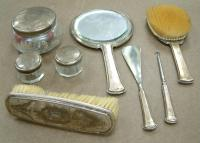 estate shipping - antique silver vanity set