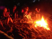 Beach camp fire Big Bay State Park Madeline Island