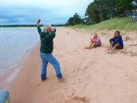 Yoga and coffe on Presque Isle beach Stockton Island