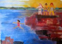 Cliff Jumping Giclee Print of Original Acrylic Watercolor Multimedia