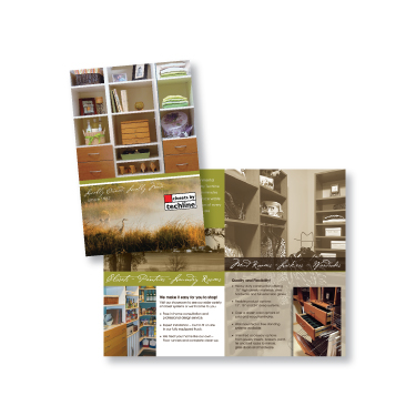 Brochure for Closets by Techline emphasising ''green'' construction.