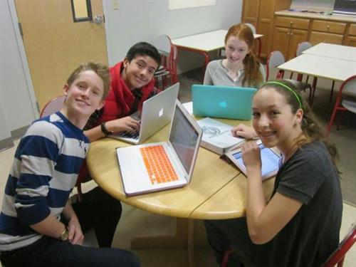 Middle School students using technology