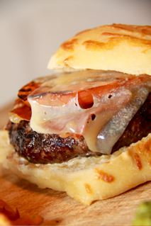 Famous Kobe Burger, Sweet Onion, Speck Ham, Imported 3 Cheese Brulee, Focaccia