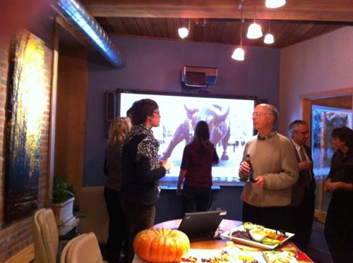 Friends and clients recently toured our beautiful new office space. Jean Houghton and Doug Stewart enjoyed the evening.
