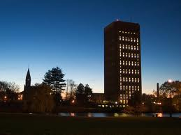 UMass campus at night