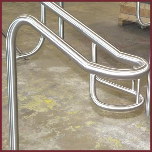 Custom bent and fabricated  stainless steel railing.