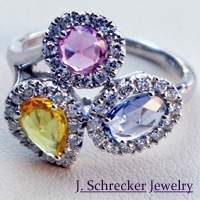 Find unique and vibrant colored stone designs that are exclusive to J. Schrecker Jewelry.
