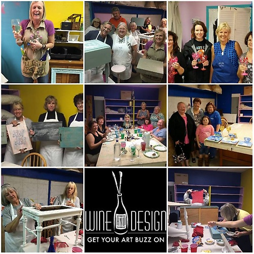 COLLAGE OF 'WINE & DESIGN' & 'GIRLS NITE IN' ART CLASSES