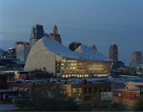 Exterior of the Kauffman Center for the Performing Arts at night (photo by Tim Hursley)