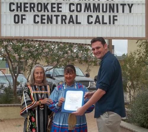 Ridgecrest Chamber CEO Presents Little Deer Durvin & Pat Hudson with a Certificate of Recognition from Assemblywoman Shannon Grove