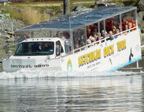 The Duck Tour as it drives into the water