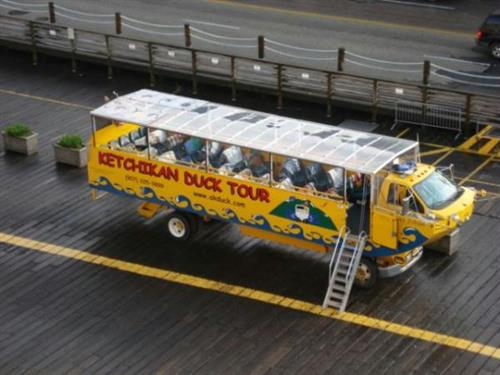 The Duck Tour vehicle as seen from the Cruise Ship