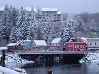 Snowy Creek Street scene in Ketchikan, Alaska.