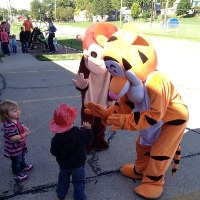 Reading with Tigger at the Napoleon Fire Station