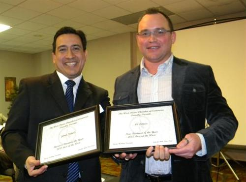 2012 New Business of the Year recipient, Jared Nichols with President Tyrone Barbery.