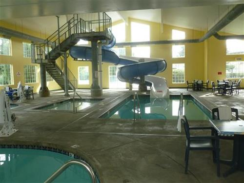 Indoor pool, slide, hot tub, wading pool