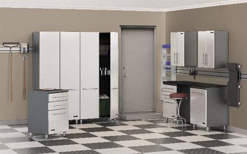 White & Grey Garage Cabinets