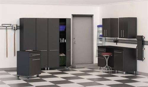 Graphite & Black Garage Cabinets