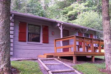5 cabins, each sleep 16 in bunks, shared bath facilities