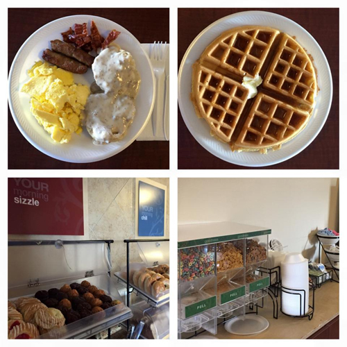 Biscuits & gravy, scrambled eggs, crispy bacon, sausage, Belgian waffles, baked goods & cereal station.