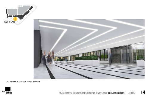 Schematic Designs of 3000 Town Center Lobby