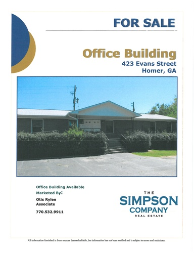 Office Building located at 423 Evans Street, Homer, GA  30547