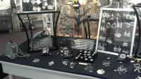Recycled aluminum jewelry.  Super light & funky.
