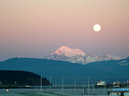 Moonrise over Mt. Baker